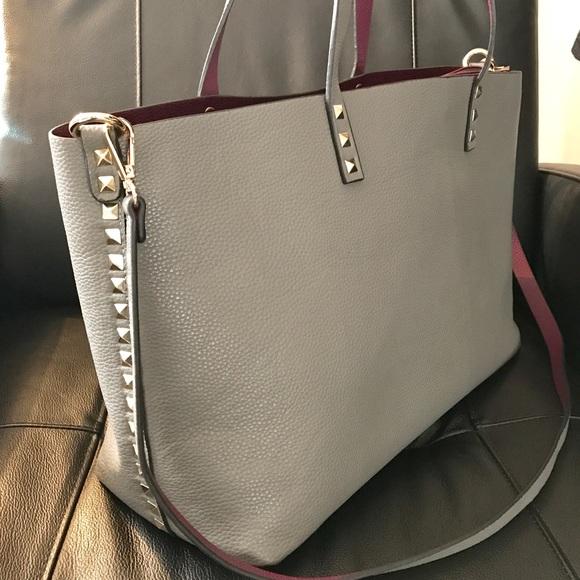 b10bd08364d5 INZI Handbags - INZI Gray Purple Reversible Studded Tote!